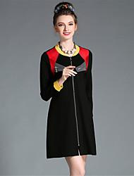 AUFOLI Plus Size Women Vintage Simple Color Block Zipper Fake Pocket Long Sleeve Dress