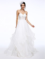 LAN TING BRIDE A-line Wedding Dress See-Through Court Train Sweetheart Organza with Appliques