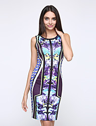 Women's Party Vintage / Simple Bodycon Dress,Floral Round Neck Mini Sleeveless Multi-color Polyester Summer