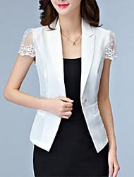 Women's Patchwork White / Black Blazer,Plus Size / Simple Peter Pan Collar Short Sleeve