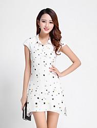 Boutique S Women's Casual/Daily Cute Sheath DressGalaxy Shirt Collar Above Knee / Asymmetrical Short Sleeve
