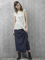 rizhuo Frauen festen blauen skirtssimple maxi