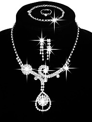 Женский Набор украшений Свадебные комплекты ювелирных изделий Мода бижутерия Медь Стразы Серебрянное покрытие Ожерелья Серьги Кольца