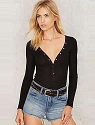Damen Solide Sexy / Einfach Lässig/Alltäglich T-shirt,Tiefes V Frühling / Herbst Langarm Schwarz Polyester Mittel
