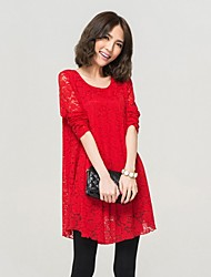 Women's Casual/Daily / Plus Size Simple / Street chic Loose / Chiffon Dress,Solid Round Neck Above Knee Long Sleeve Red / Black Polyester