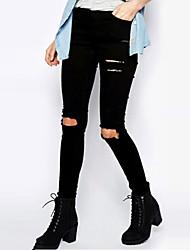 Women's Solid Black Jeans PantsVintage All Seasons