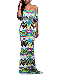 Women's Going out / Party/Cocktail / Club Sexy Swing DressPrint Boat Neck Maxi Short Sleeve Green Polyester Summer