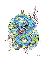 1pc Blue Temporary Women Men Body Back Art Tattoo Sticker Chinese Dragon Evil Flowers Fan Design Tattoo HB-246