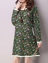 Women's Casual/Daily Vintage Loose DressFloral Round Neck Above Knee Long Sleeve Red / Green Linen All Seasons Mid Rise