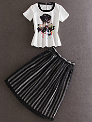 Damen Solide Street Schick Ausgehen T-shirt Rock,Rundhalsausschnitt Frühling / Herbst Kurzarm Weiß Baumwolle Undurchsichtig