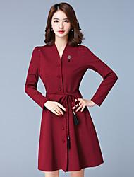 Gaine Robe Femme Grandes Tailles simple,Points Polka Col en V Mi-long Manches Longues Rouge / Noir Coton / Spandex Automne Taille Normale