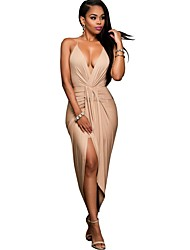 Women's Party/Cocktail / Club Sexy / Simple Ruched Criss-Cross Backless Sheath DressSolid Strap Asymmetrical Sleeveless