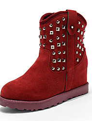 Women's Boots Spring / Fall / Winter Suede Outdoor / Casual Low Heel Rivet Black / Burgundy / Khaki Snow Boots