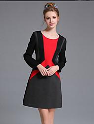 bloco da cor do vintage de retalhos geométrica mulheres aufoli inverno simples plus size vestido de manga longa