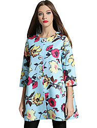 Spring Fall Women's Coats Round Neck Long Sleeve Fashion Printing Ladies Casual Trench Coat