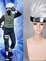 Hokage Wig with Hair Accessories Free Japanese Short Silver White Shaggy Naruto Hatake Kakashi Cosplay Wig