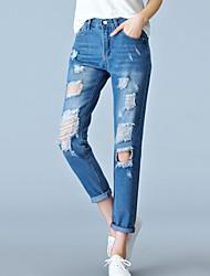Mulheres Calças Simples Jeans Poliéster Com Stretch Mulheres