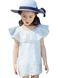 Robe Fille de Imprimé Sortie Autres Eté Blanc