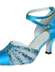 Customizable Women's Latin / Modern Dance Shoes Satin / Sparkling Glitter Satin  Blue Sandals / Heels Customized Heel