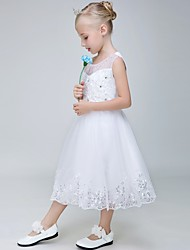 Ball Gown Tea-length Flower Girl Dress - Tulle Sleeveless Jewel with Appliques / Sequins