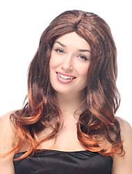 Gradient Dark Brown and Light Brown Long Wavy Halloween Wig Synthetic Wigs Costume Wigs