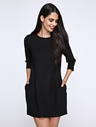 Women's Casual/Daily Plus Size Plus Size Dress,Solid Round Neck Above Knee Long Sleeve Black Cotton Fall
