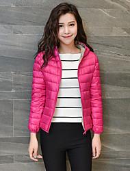 Women's Solid Pink / Black CoatSimple Hooded Long Sleeve