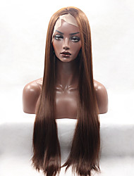 Fashion Long Straight Synthetic Lace Front Wig Glueless Brown Color For Afro Women Wigs