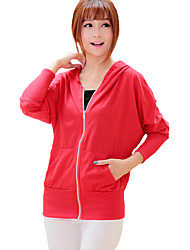 Women's Casual/Daily Simple Long HoodiesSolid Red / Gray Hooded Long Sleeve Cotton / Rayon Fall / Winter Thin Inelastic