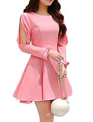 Damen Kleid-Chiffon Einfach Solide Mini Polyester Rundhalsausschnitt