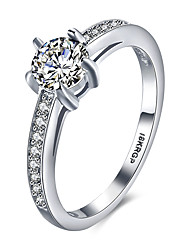 2016 Noble Luxury Hearts And Arrows Wedding 18KGP Platinum Zircon Engagement Ring For Women