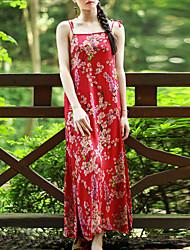 A tunica Vestito Da donna-Casual Stoffe orientali Fantasia floreale Con bretelline Maxi Senza maniche Rosso Cotone EstateA vita
