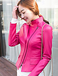 Women's Casual/Daily Simple Fall Leather JacketsSolid Stand Long Sleeve Blue / Pink / Red / Black PU Thin