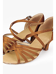 Non Customizable Women's Dance Shoes Satin Satin Latin Sandals Chunky Heel Performance Other