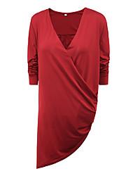 Damen Solide Sexy / Einfach Lässig/Alltäglich T-shirt,Tiefes V Frühling / Herbst Langarm Blau / Rot / Braun / Grün Polyester Mittel