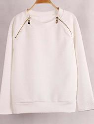 Women's Casual/Daily Simple Regular HoodiesSolid White Round Neck Long Sleeve Faux FurWinter Medium Inelastic