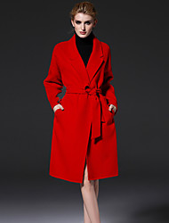 FRMZ  Women's Formal Simple CoatSolid Notch Lapel Long Sleeve Winter Red Wool / Polyester Medium