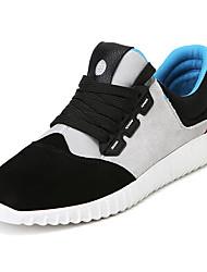 Men's Flats Spring Summer Fall Winter Comfort Suede Outdoor Casual Athletic Flat Heel Split Joint Black Gray