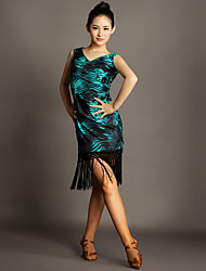 Latin Dance Dresses Women's Performance Spandex Tassel(s) 1 Piece Leopard Print Latin Dance Sleeveless Natural Dress