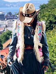Damen Stickerei Retro Ausgehen / Lässig/Alltäglich Jacke,V-Ausschnitt Herbst Ärmellos Beige Wolle / Baumwolle Mittel