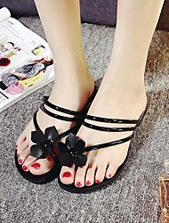 Women's Sandals Spring / Summer Comfort PU Casual Flat Heel Flower Black / Green / Red / Silver Others