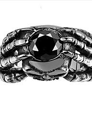 Vintage Punk 361L Steel Skull Head Claw Ring Black Stones Ring Men Jewelry