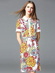 frmz sair bainha bonito colarinho dressfloral acima do joelho manga curta vermelha algodão / poliéster / spandex
