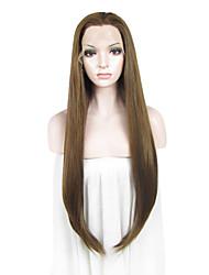 imstyle 30 perucas liso castanho claro reta renda sintética da frente