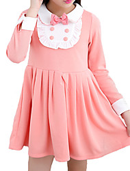 Girl's Casual/Daily Patchwork DressCotton Fall Blue / Pink