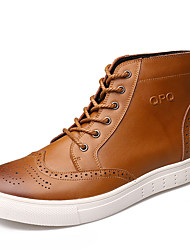 Men's Boots Fall / Winter Riding Boots Cowhide Office & Career / Casual Flat Heel Lace-up Yellow / Tan Walking