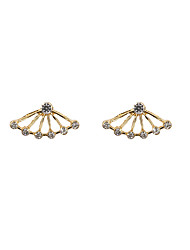 Fashion Rhinestone Set Fan Front And Back Earrings(one earring two ways to wear)