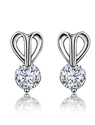 Guaranteed 100% New Pure Hand-made Real Silver Material and Gold Plating Teen Girls Stud Earring with Shinning Stone