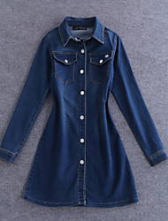 Boutique S Going out Simple Sheath DressSolid Shirt Collar Above Knee Long Sleeve Blue Cotton Summer Mid Rise