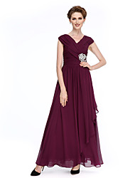 Lanting Bride® A-line Mother of the Bride Dress Ankle-length Sleeveless Chiffon with Criss Cross / Crystal Brooch / Ruching